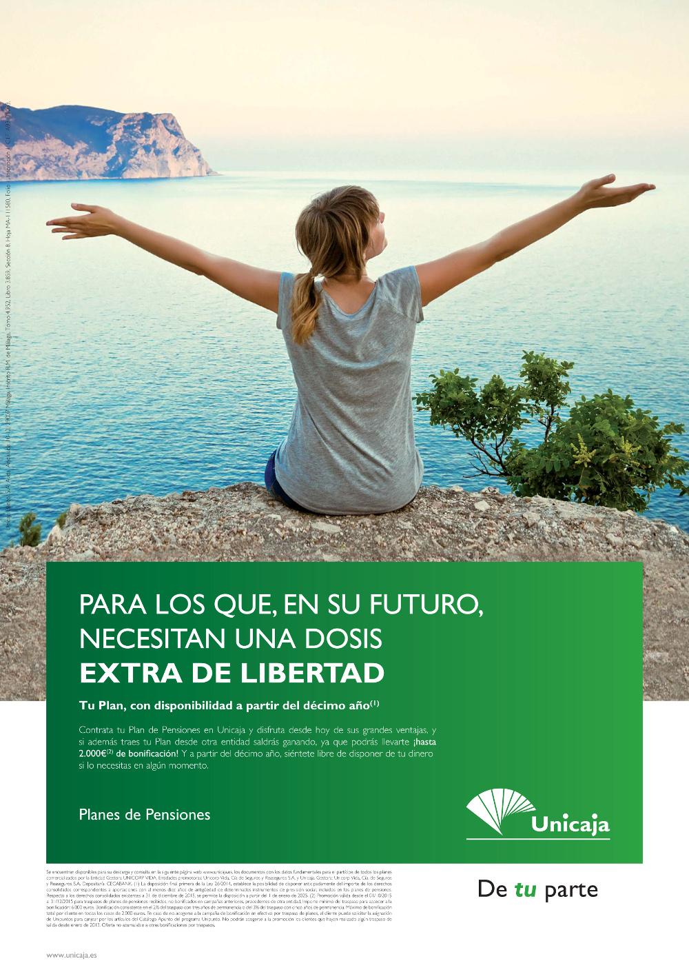 Unicaja lanza una campaña de planes de pensiones con bonificaciones de hasta el 3 por cien