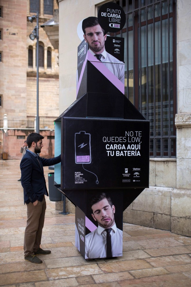Three telephone booths have been converted in the centre of Malaga for charging mobiles and getting tourist information