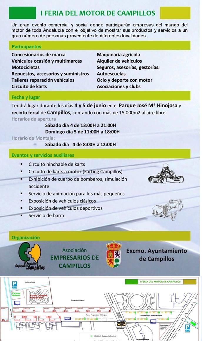 El Ayuntamiento y la Asociación de Empresarios de Campillos celebran el 4 y 5 de junio su I Feria del Motor
