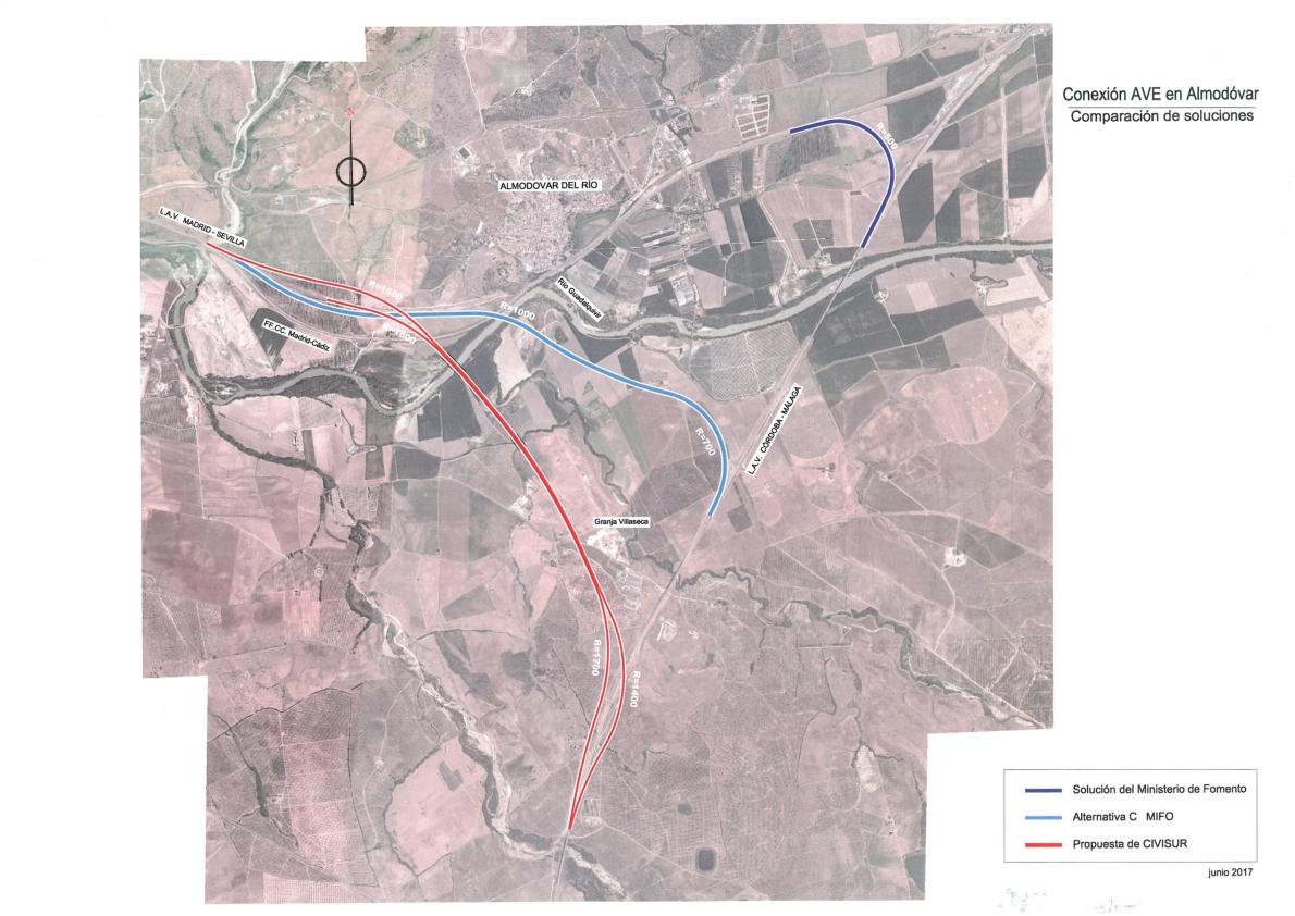 Propuesta de CIVISUR de interconexión de las líneas AVE de Sevilla y Málaga