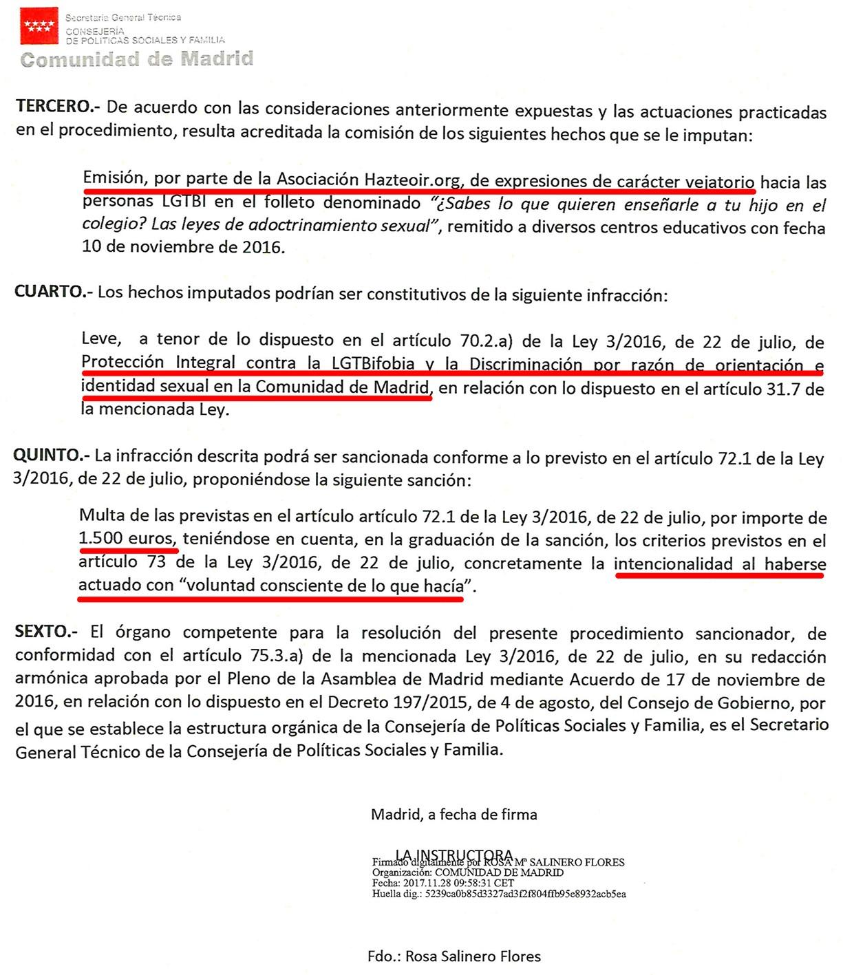 """La Consejería de Familia de Madrid multa a Hazte Oír por su oposición a que """"se anime"""" a los niños en el colegio a cambiar de sexo"""