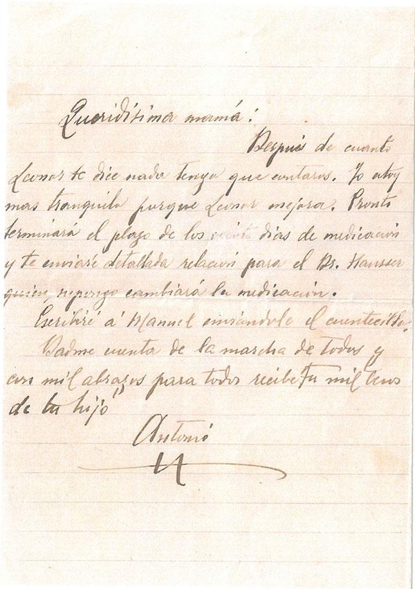 Carta autógrafa de Antonio Machado a su madre
