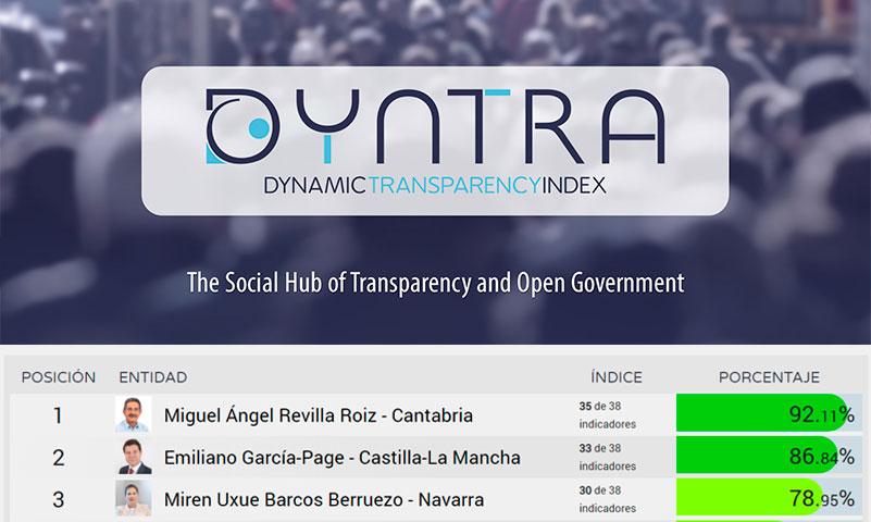 La Plataforma Dyntra evalúa la transparencia de los presidentes de Gobierno del Estado y autonómicos y Cantabria se sitúa a la cabeza
