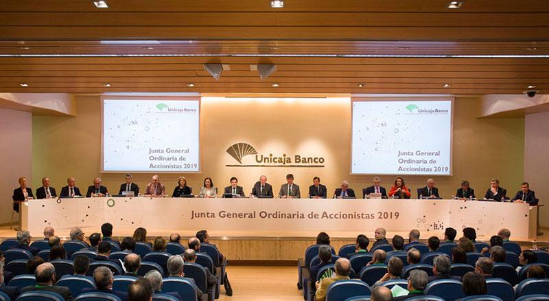 La Junta de Accionistas de Unicaja Banco aprueba las cuentas de 2018, primer ejercicio completo como cotizada en el que culminó la integración de EspañaDuero, y un aumento del dividendo