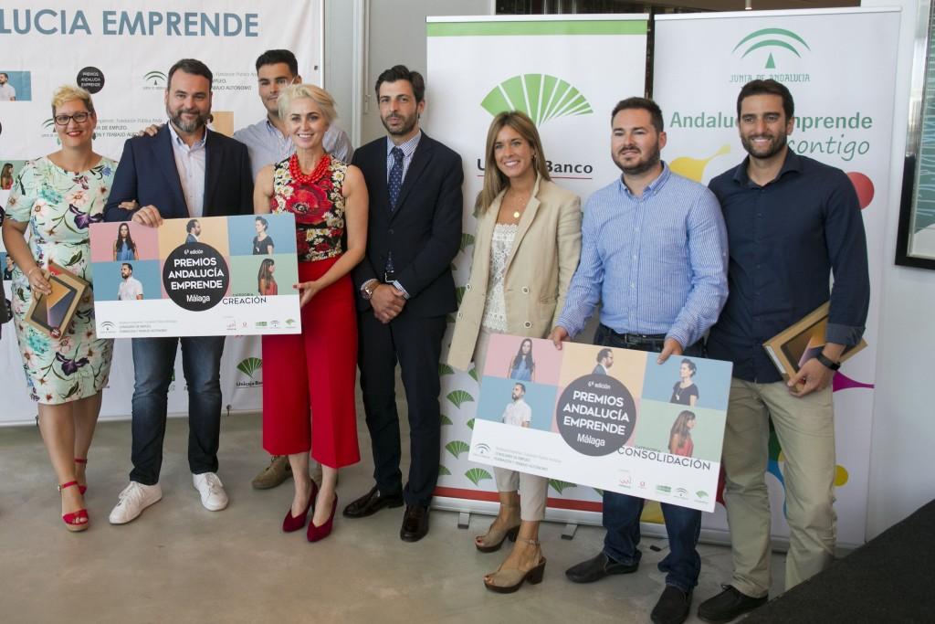 Unicaja Banco muestra un año más en Málaga su apoyo a los Premios Andalucía Emprende, entregados a 'Kaiju Entertainment' y 'Gana Arquitectura'