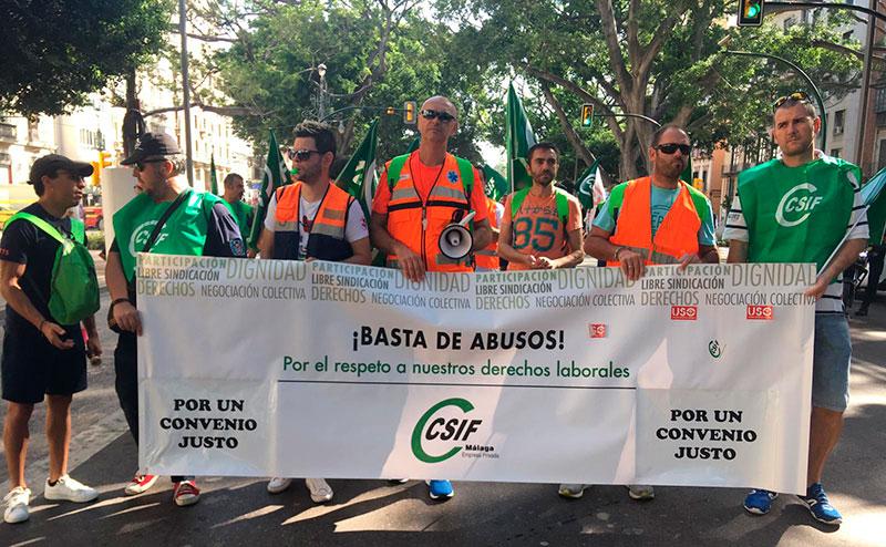 Protestas de trabajadores del transporte sanitario de Málaga