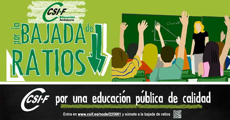 La reducción de ratios, la mayor preocupación de los docentes andaluces, según una encuesta de CSIF