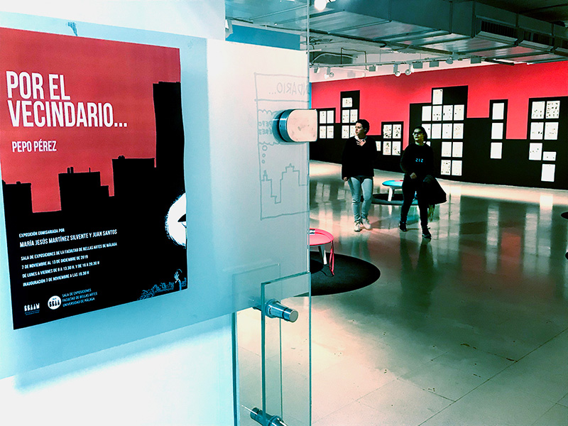 Una exposición en Bellas Artes desnuda el trabajo creativo de Pepo Pérez como dibujante de El Vecino