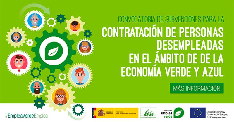 Abierto el plazo para solicitar subvenciones para la contratación de personas desempleadas en el marco de la economía verde y/o azul
