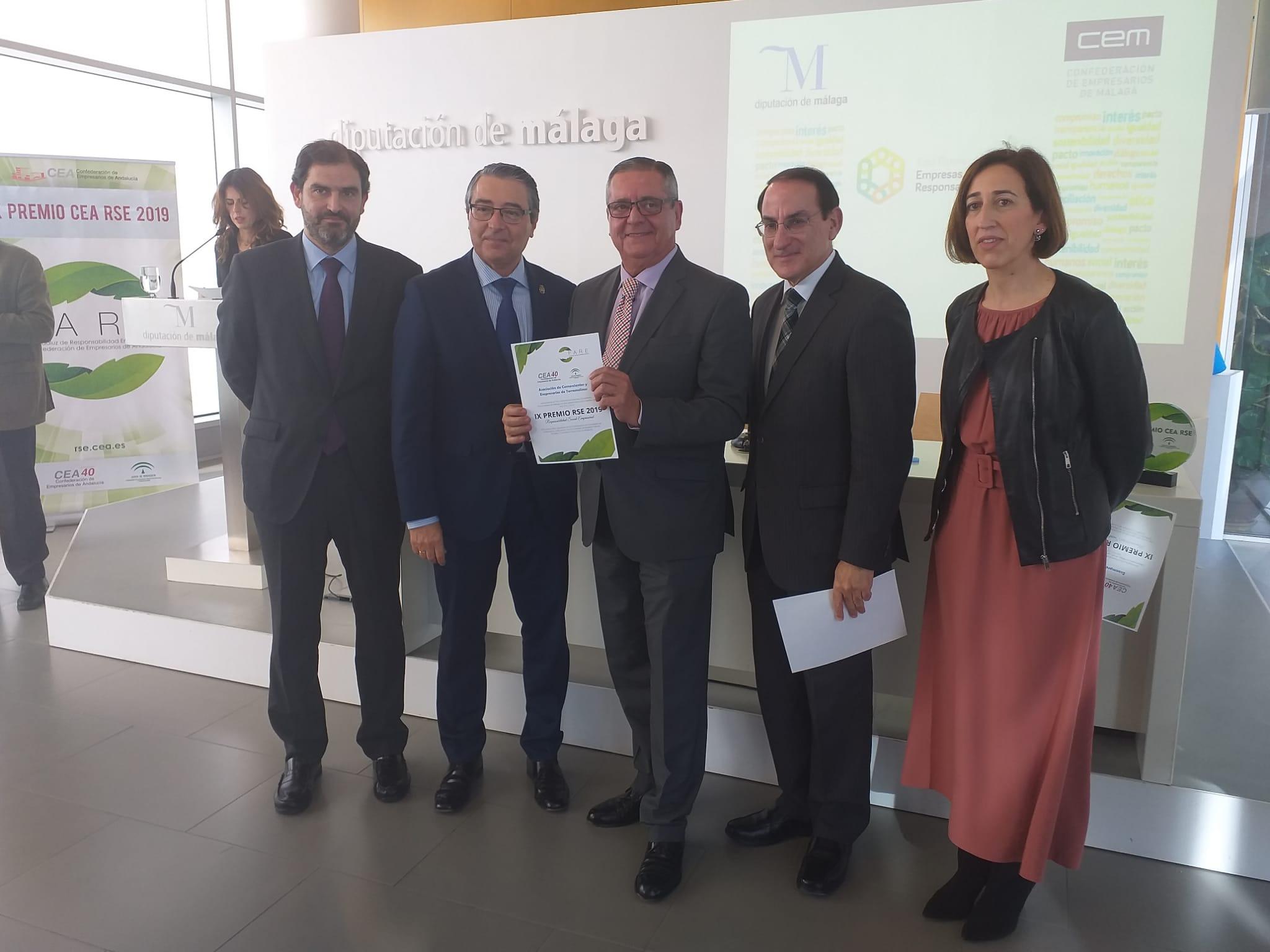 La Diputación de Málaga y la CEA distinguen a ACET con el galardón de Responsabilidad Social Empresarial