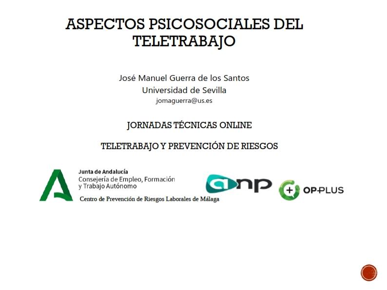 Aspectos psicosociales del teletrabajo: riesgos, evaluación y medidas propuestas