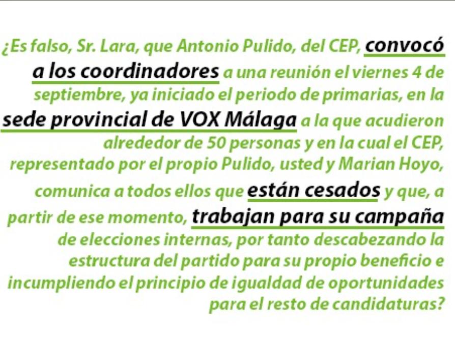 El candidato a presidir Vox Málaga, Enrique de Vivero, pregunta al actual presidente, José Enrique Lara