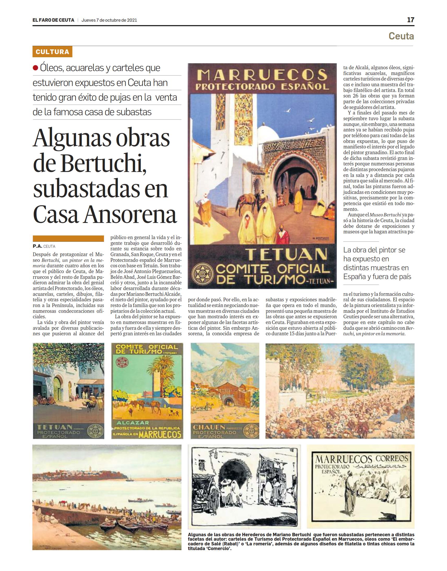 Subasta de obras de Bertuchi, el pintor del Protectorado español, en Casa Ansorena